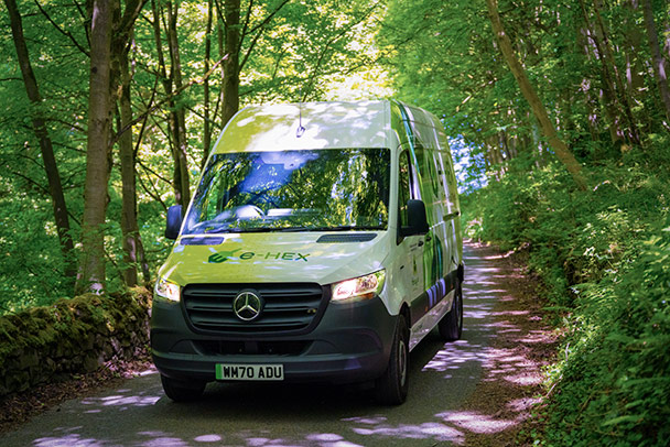 Mercedes Sprinter driving along the road